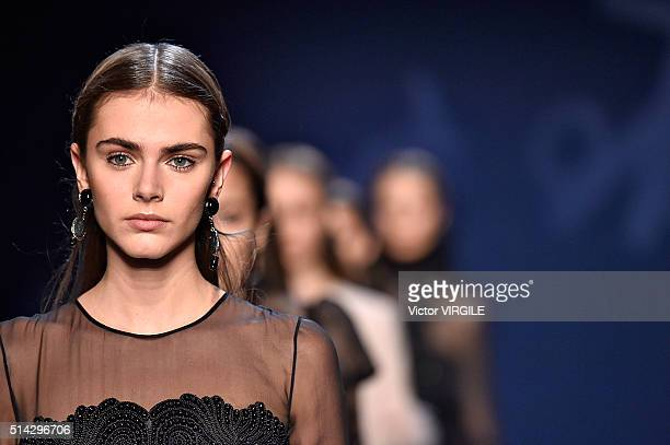 A model walks the runway during the Andrew GN fashion show as part of the Paris Fashion Week Womenswear Fall/Winter 2016/2017 on March 4 2016 in...
