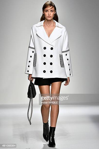 A model walks the runway during the Andrew GN Ready to Wear show as part of the Paris Fashion Week Womenswear Spring/Summer 2016 on October 2 2015 in...