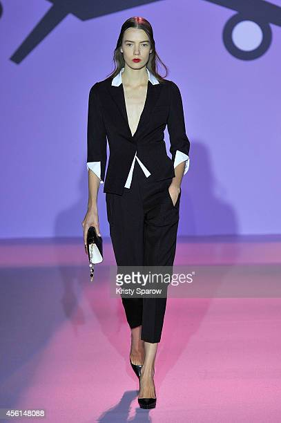 A model walks the runway during the Andrew GN show as part of Paris Fashion Week Womenswear Spring/Summer 2015 on September 26 2014 in Paris France