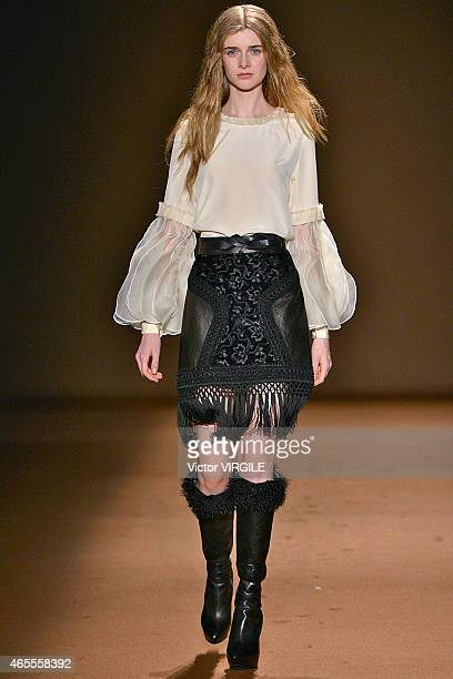 A model walks the runway during the Andrew GN show as part of the Paris Fashion Week Womenswear Fall/Winter 2015/2016 on March 6 2015 in Paris France