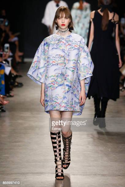 A model walks the runway during the Andrew GN show as part of the Paris Fashion Week Womenswear Spring/Summer 2018 on September 29 2017 in Paris...