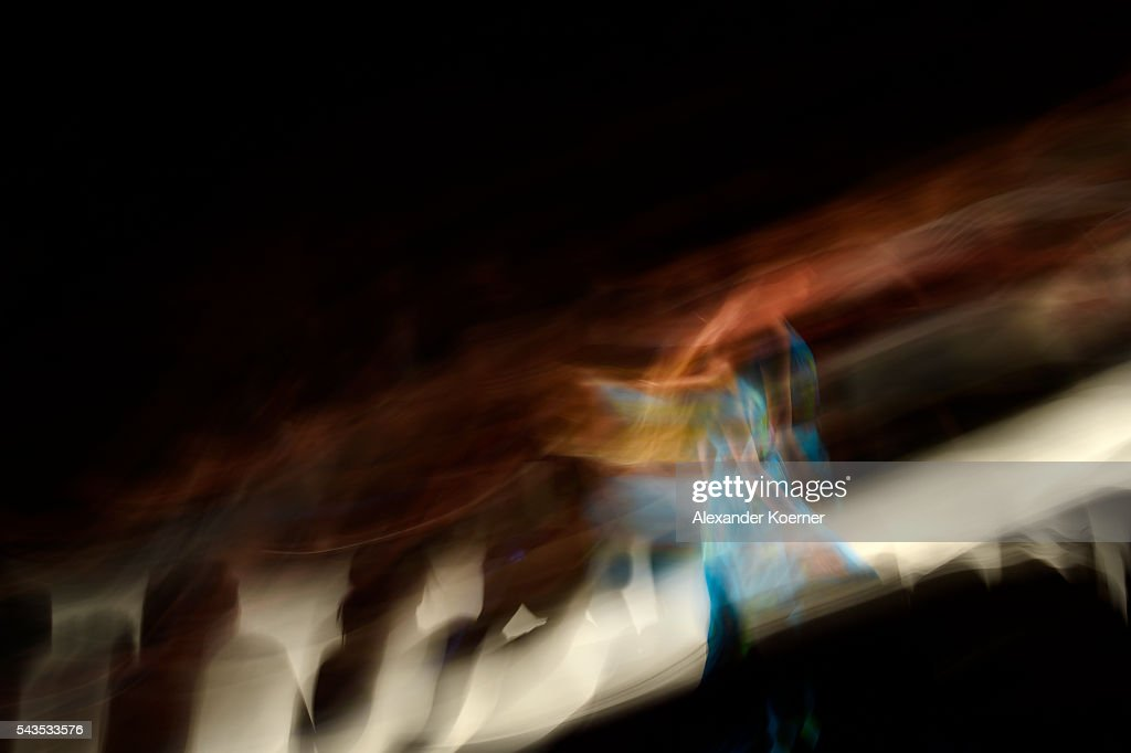 A model walks the runway during the Anja Gockel show at the Mercedes-Benz Fashion Week Berlin Spring/Summer 2017 at Erika Hess Eisstadion on June 28, 2016 in Berlin, Germany.