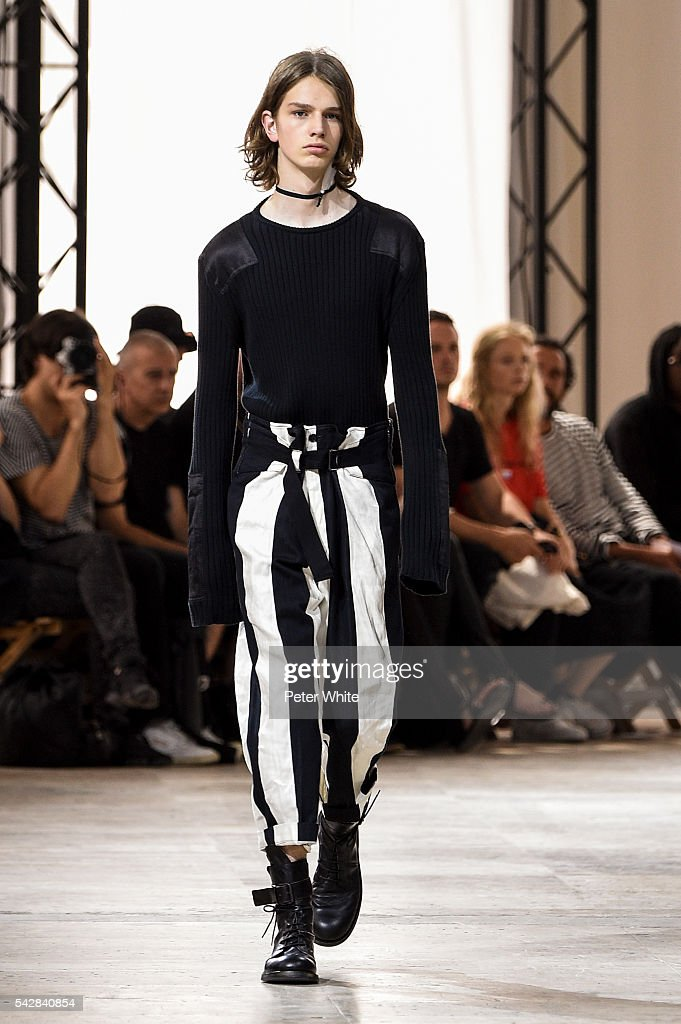 A model walks the runway during the Ann Demeulemeester Menswear Spring/Summer 2017 show as part of Paris Fashion Week on June 24, 2016 in Paris, France.