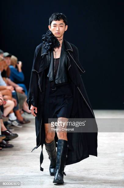 A model walks the runway during the Ann Demeulemeester Menswear Spring/Summer 2018 show as part of Paris Fashion Week on June 23 2017 in Paris France