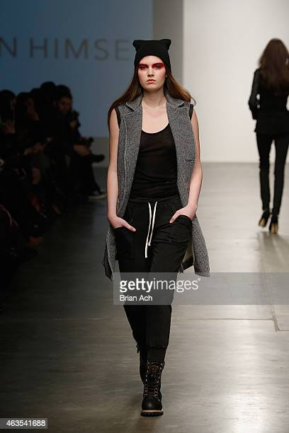 A model walks the runway during the Ann Himsel show at the Nolcha Fashion Week New York Fall Winter Collections 2015/2016 during NY Fashion Week at...
