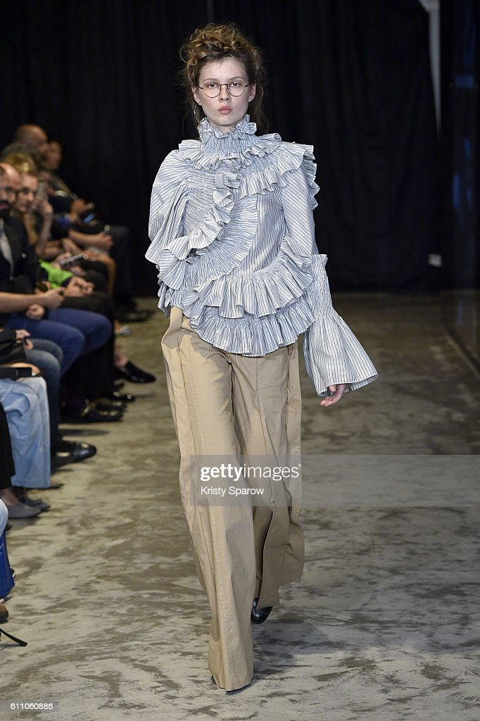 model-walks-the-runway-during-the-anne-sofie-madsen-show-as-part-of-picture-id611060886