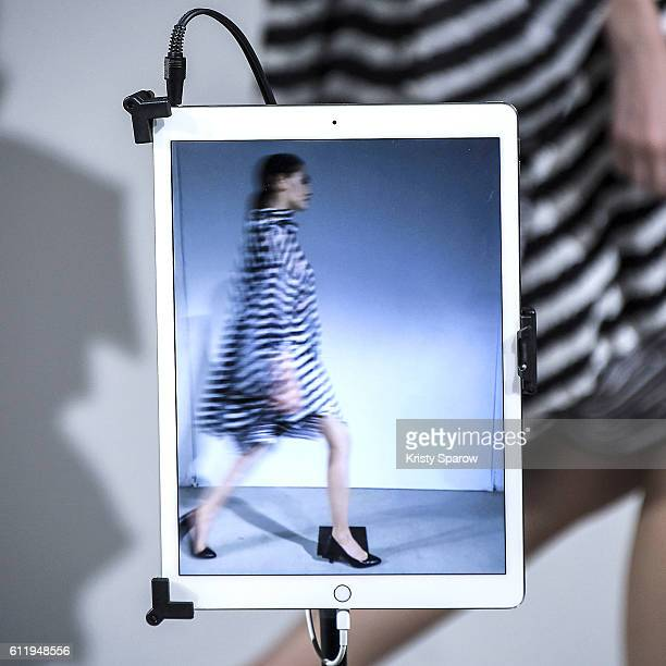 A model walks the runway during the Anrealage show as part of Paris Fashion Week Womenswear Spring/Summer 2017 on September 27 2016 in Paris France