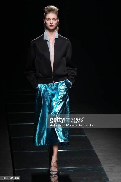 A model walks the runway during the Anteprima show as a part of Milan Fashion Week Womenswear Spring/Summer 2014 on September 19 2013 in Milan Italy