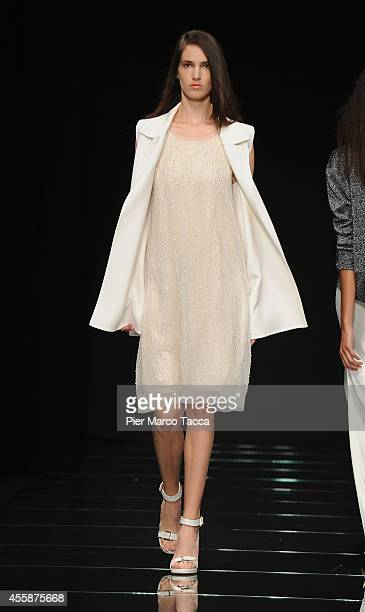 A model walks the runway during the Anteprima show as a part of Milan Fashion Week Womenswear Spring/Summer 2015 on September 21 2014 in Milan Italy