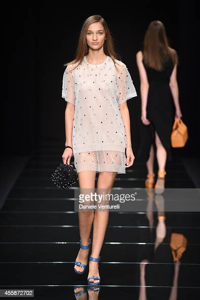 A model walks the runway during the Anteprima show as part of Milan Fashion Week Womenswear Spring/Summer 2015 on September 21 2014 in Milan Italy