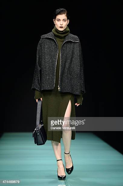 A model walks the runway during the Anteprima show as part of Milan Fashion Week Womenswear Autumn/Winter 2014 on February 23 2014 in Milan Italy