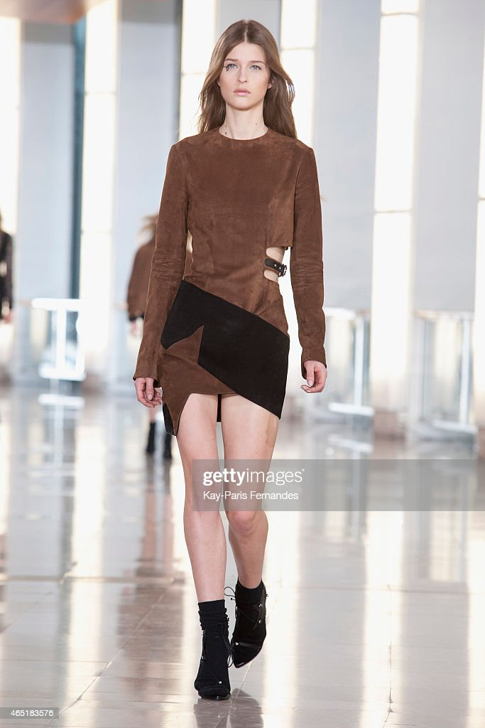 A model walks the runway during the Anthony Vaccarello show as part of the Paris Fashion Week Womenswear Fall/Winter 2015/2016 on March 3 2015 in...
