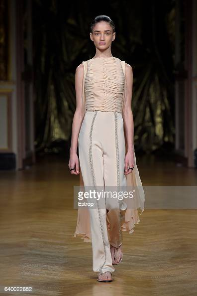 A model walks the runway during the Antonio Grimaldi Spring Summer 2017 show as part of Paris Fashion Week on January 26 2017 in Paris France
