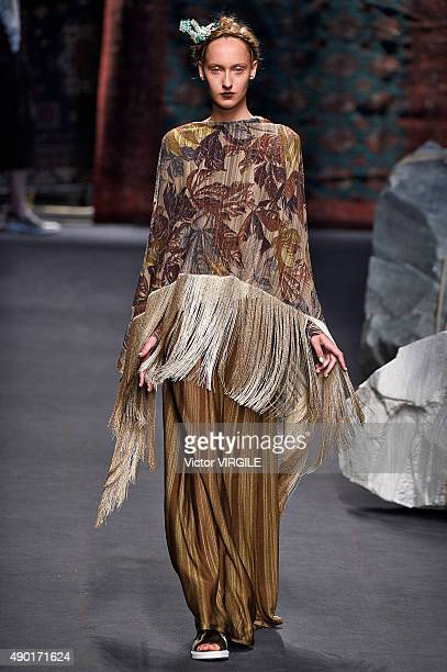 A model walks the runway during the Antonio Marras Ready to Wear fashion show as part of Milan Fashion Week Spring/Summer 2016 on September 26 2015...