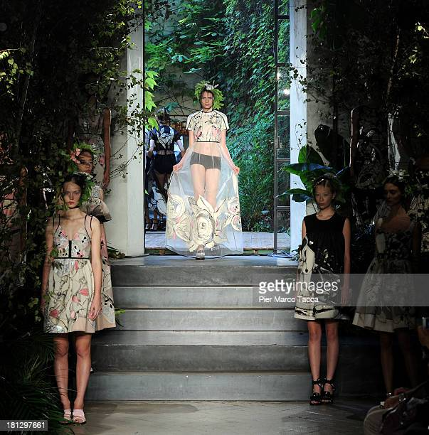 A model walks the runway during the Antonio Marras show as a part of Milan Fashion Week Womenswear Spring/Summer 2014 on September 20 2013 in Milan...