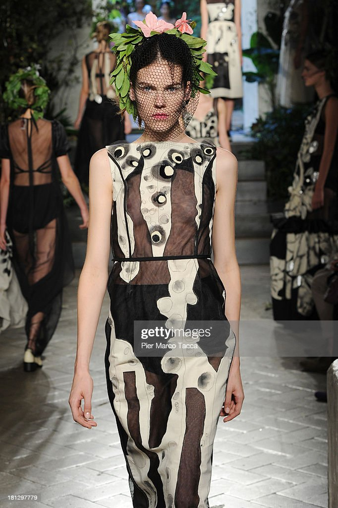 A model walks the runway during the Antonio Marras show as a part of Milan Fashion Week Womenswear Spring/Summer 2014 on September 20, 2013 in Milan, Italy.