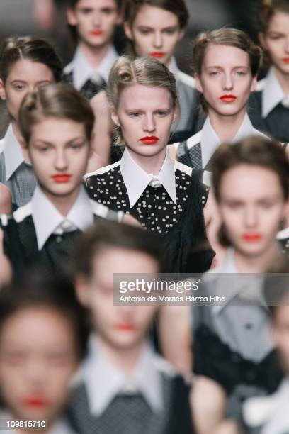 A model walks the runway during the Antonio Marras show as part of Milan Week Womenswear Autumn/Winter 2011 on February 25 2011 in Milan Italy