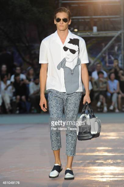 A model walks the runway during the Antonio Marras show as part of Milan Fashion Week Menswear Spring/Summer 2015 on June 22 2014 in Milan Italy