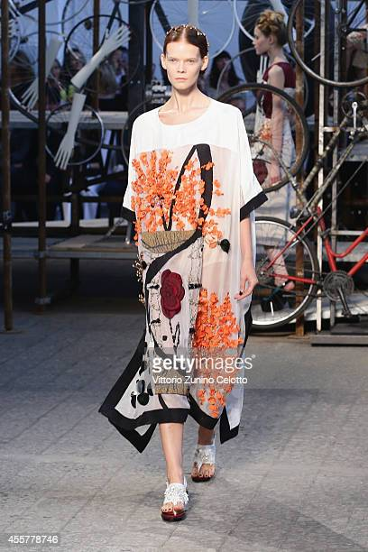 A model walks the runway during the Antonio Marras Show as part of Milan Fashion Week Womenswear Spring/Summer 2015 on September 20 2014 in Milan...