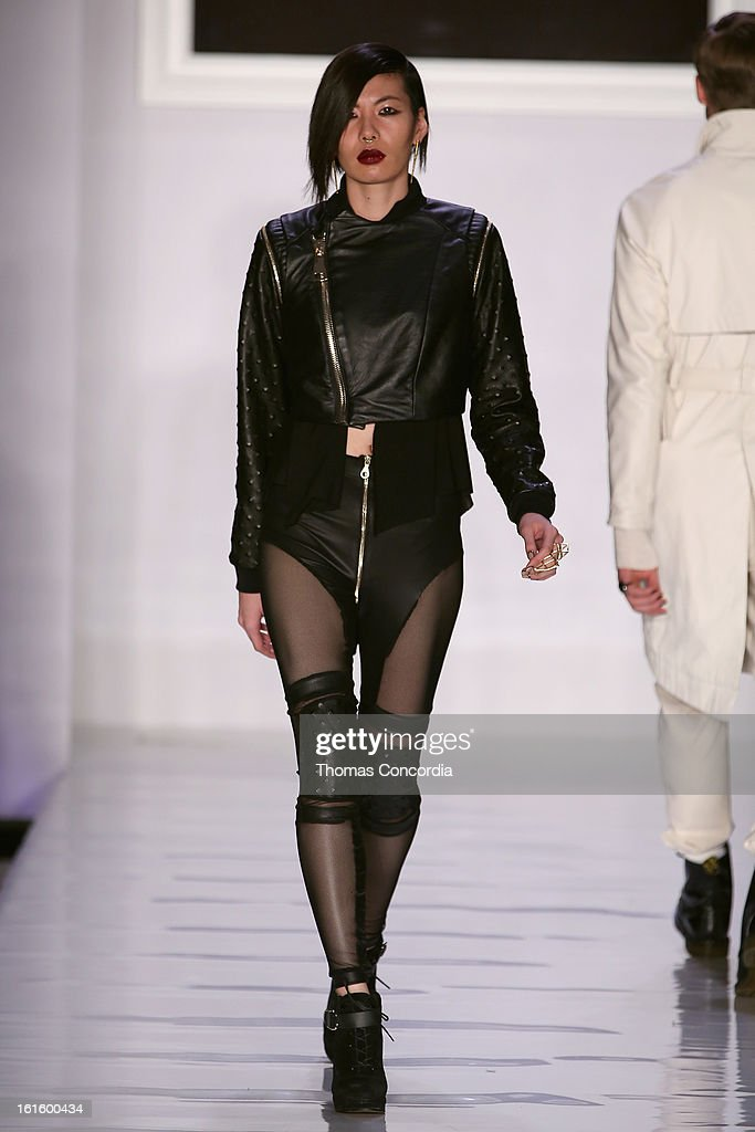 A model walks the runway during the Ashton Michael Fashion Show At CONAIR STYLE360 at STYLE360 presented by Conair Fashion Pavilion on February 12, 2013 in New York City.