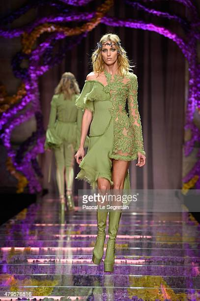A model walks the runway during the Atelier Versace show as part of Paris Fashion Week Haute Couture Fall/Winter 2015/2016 on July 5 2015 in Paris...