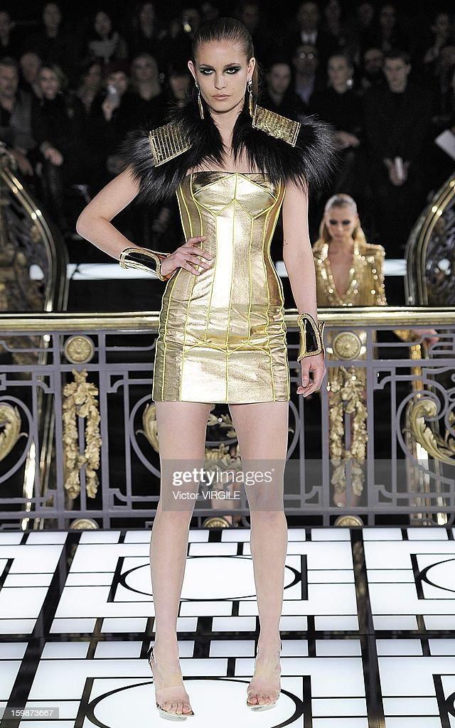 A model walks the runway during the Atelier Versace Spring/Summer 2013 Haute-Couture show as part of Paris Fashion Week at Le Centorial on January 20, 2013 in Paris, France.