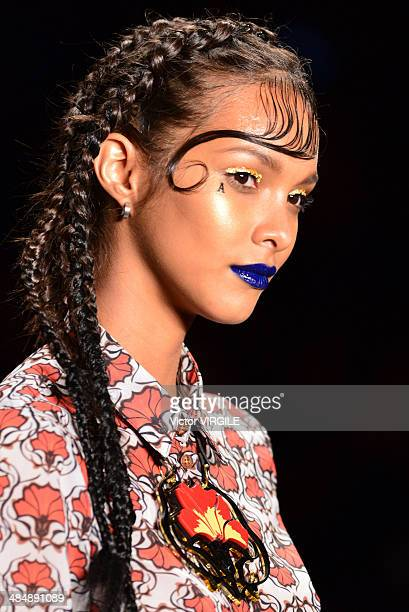 A model walks the runway during the Auslander Fashion show at Rio de Janeiro Fashion Week Spring Summer 2014/2015 on April 8 2014 in Rio de Janeiro...