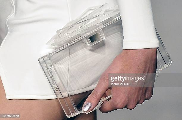 A model walks the runway during the Auslander show as part of the Rio de Janeiro Fashion Week Fall/Winter 2014 on November 9 2013 in Rio de Janeiro...