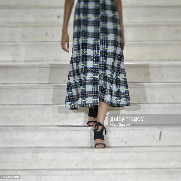 A model walks the runway during the Avoc Menswear Spring/Summer 2018 show as part of Paris Fashion Week on June 24 2017 in Paris France