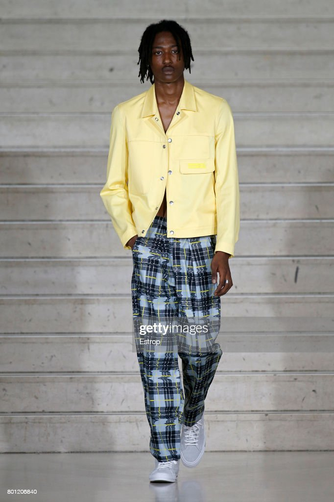 model-walks-the-runway-during-the-avoc-menswear-springsummer-2018-as-picture-id801206840