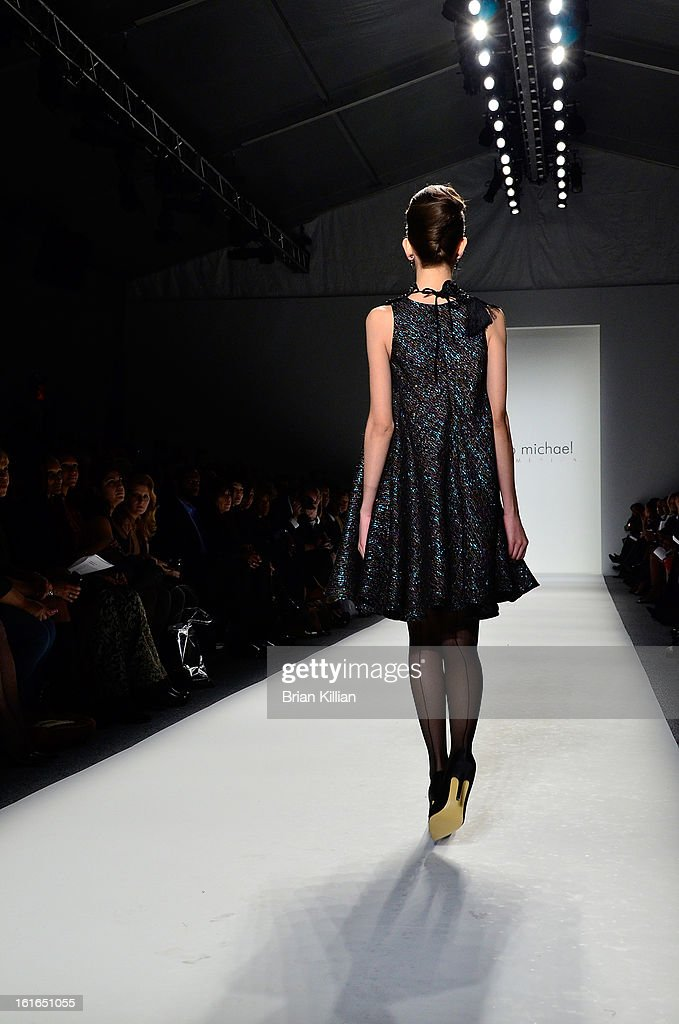 A model walks the runway during the B Michael America during Fall 2013 Mercedes-Benz Fashion Week at The Studio at Lincoln Center on February 13, 2013 in New York City.