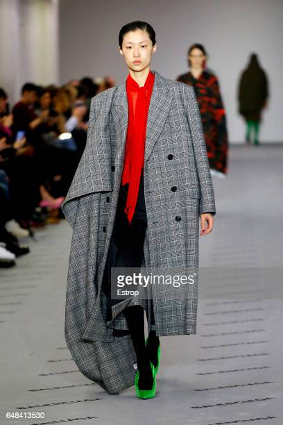 A model walks the runway during the Balenciaga designed by Demma Gvasalia show as part of the Paris Fashion Week Womenswear Fall/Winter 2017/2018 on...