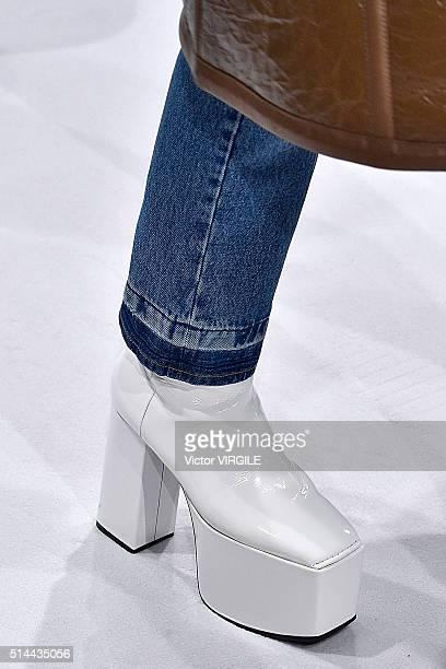 A model walks the runway during the Balenciaga fashion show as part of the Paris Fashion Week Womenswear Fall/Winter 2016/2017 on March 6 2016 in...