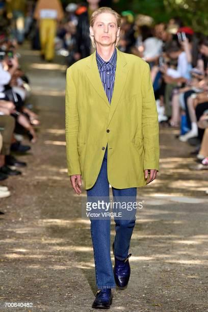 A model walks the runway during the Balenciaga Menswear Spring/Summer 2018 show as part of Paris Fashion Week on June 21 2017 in Paris France