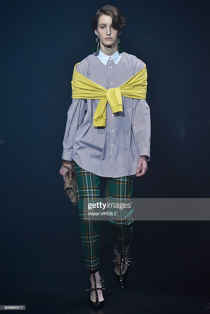 A model walks the runway during the Balenciaga Ready to Wear Spring/Summer 2018 fashion show as part of the Paris Fashion Week Womenswear Spring/Summer 2018 on October 1, 2017 in Paris, France.