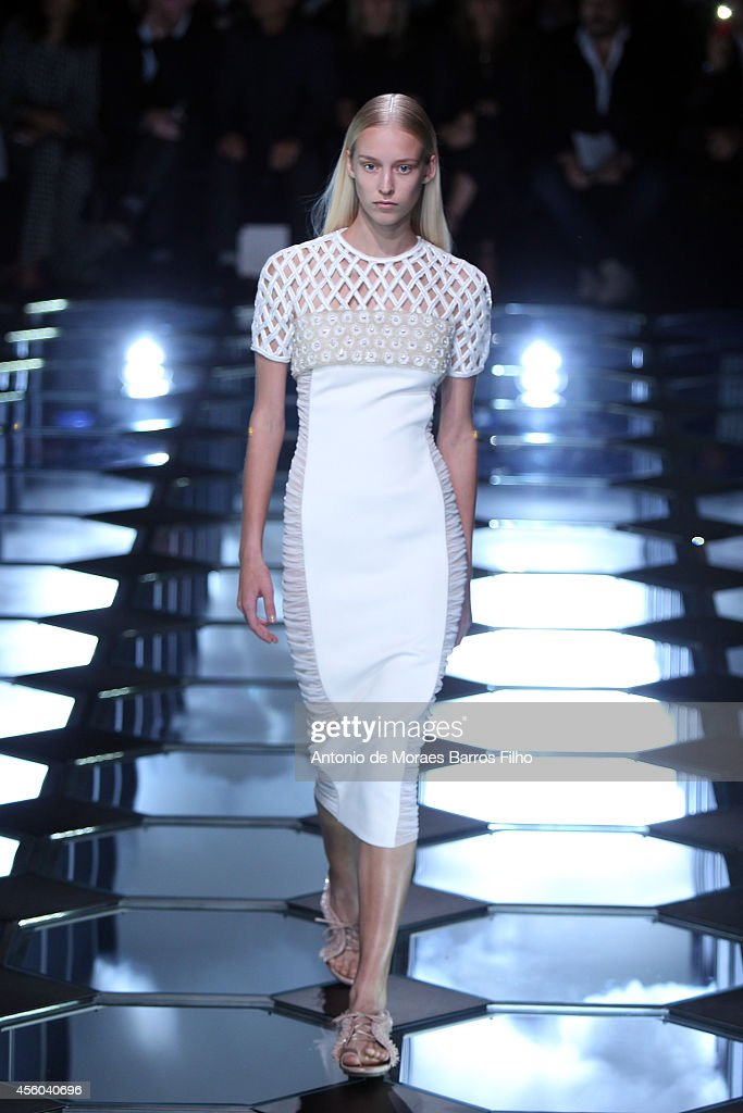 A model walks the runway during the Balenciaga show as part of the Paris Fashion Week Womenswear Spring/Summer 2015 on September 24 2014 in Paris...