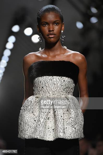 A model walks the runway during the Balenciaga show as part of the Paris Fashion Week Womenswear Fall/Winter 2015/2016 on March 6 2015 in Paris France