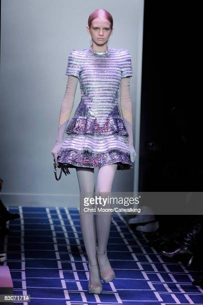 A model walks the runway during the Balenciaga show part of Paris Fashion Week Spring/Summer 2009 on September 302008 in ParisFrance