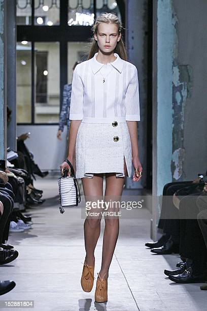 A model walks the runway during the Balenciaga Spring / Summer 2013 show as part of Paris Fashion Week on September 27 2012 in Paris France
