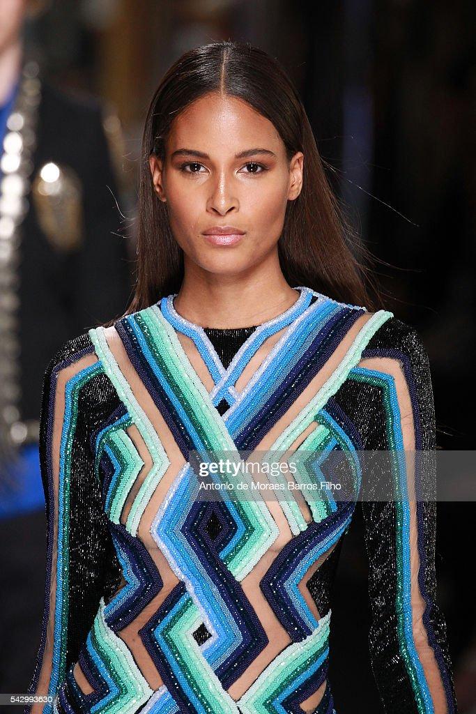 A model walks the runway during the Balmain Menswear Spring/Summer 2017 show as part of Paris Fashion Week on June 25, 2016 in Paris, France.