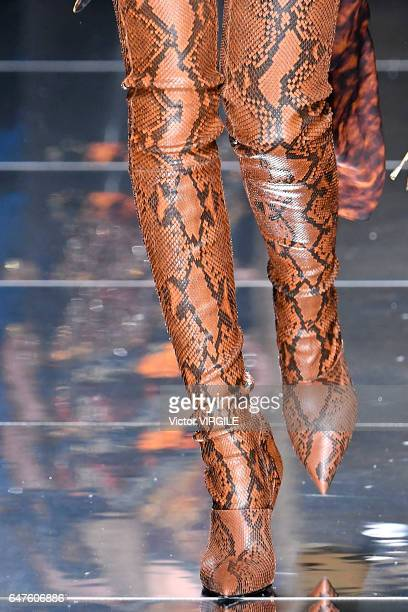 A model walks the runway during the Balmain Ready to Wear fashion show as part of the Paris Fashion Week Womenswear Fall/Winter 2017/2018 on March 2...
