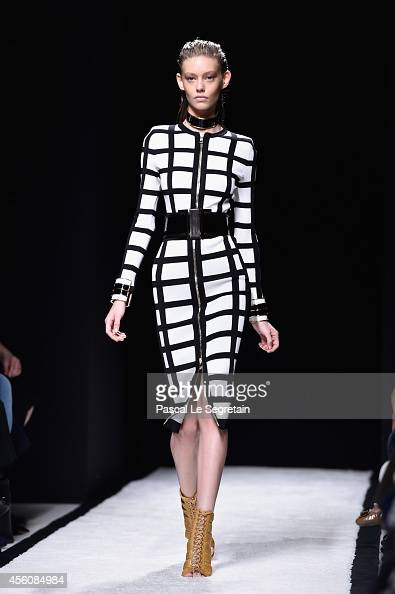 A model walks the runway during the Balmain show as part of the Paris Fashion Week Womenswear Spring/Summer 2015 on September 25 2014 in Paris France