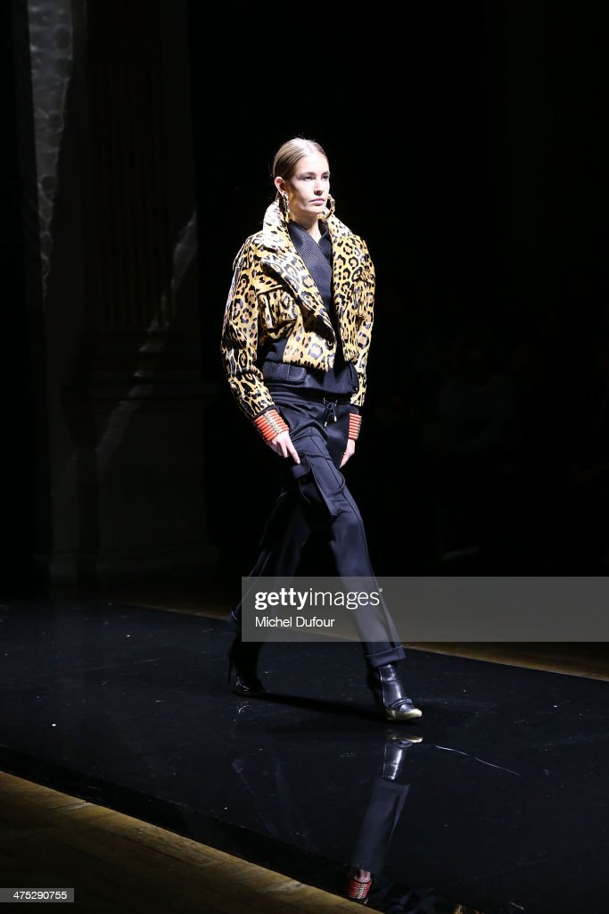 A model walks the runway during the Balmain show as part of the Paris Fashion Week Womenswear Fall/Winter 2014-2015 on February 27, 2014 in Paris, France.