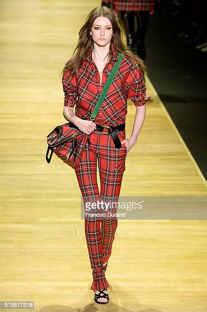 A model walks the runway during the Barbara Bui show as part of the Paris Fashion Week Womenswear Fall/Winter 2016/2017 on March 3 2016 in Paris...