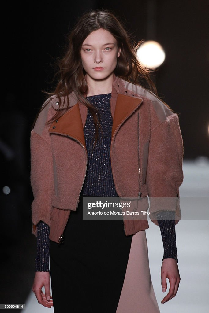 A model walks the runway during the BCBGMAXAZRIA show as a part of Fall 2016 New York Fashion Week at The Arc, Skylight at Moynihan Station on February 11, 2016 in New York City.