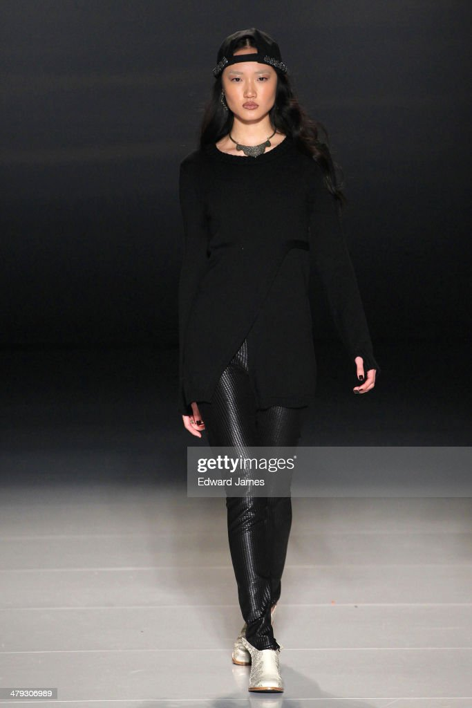 A model walks the runway during the Beaufille fashion show during World Mastercard fashion week on March 17, 2014 in Toronto, Canada.