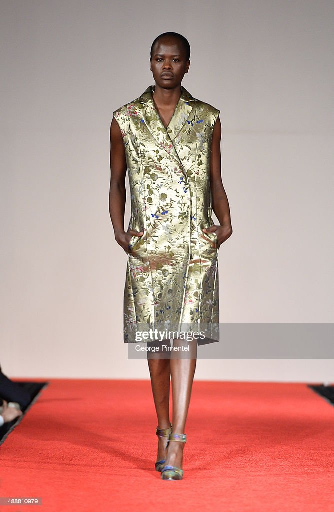 A model walks the runway during the Believe In Fashion Presents Erdem at Arcadian Court on May 8, 2014 in Toronto, Canada.