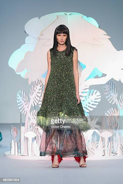 A model walks the runway during the Benito Santos show at MercedesBenz Fashion Week Mexico Spring/Summer 2016 at Campo Marte on October 13 2015 in...
