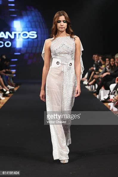 model walks the runway during the Benito Santos show at MercedesBenz ...