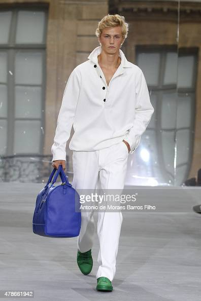 A model walks the runway during the Berluti Menswear Spring/Summer 2016 show as part of Paris Fashion Week on June 26 2015 in Paris France